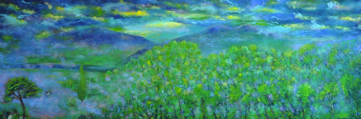 La colline, Penthalaz, 2. Huile sur toile, 50x150, 2020