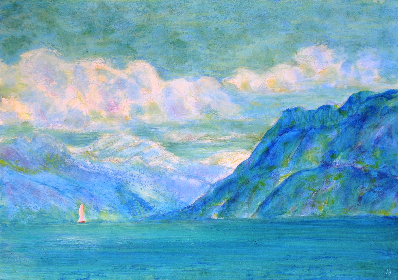 Lac Léman, St Prex, 18. Crayon et huile sur papier, 30x42, 2020