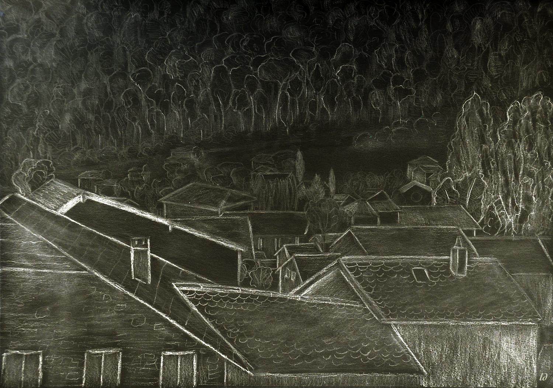 Les toits, Penthalaz. Mixed media, 78x111, 2020