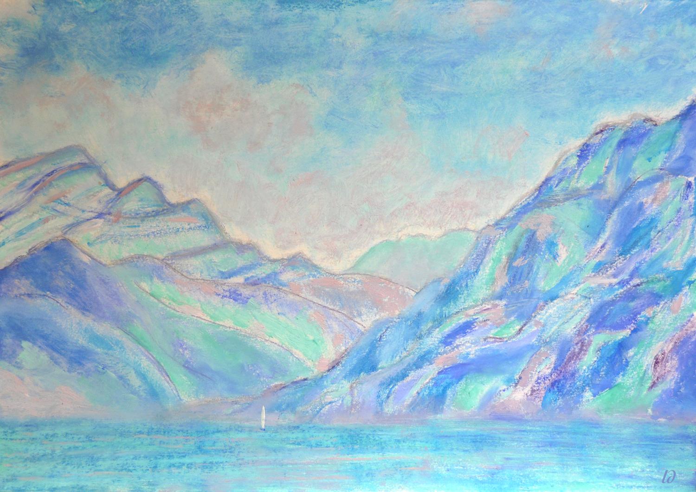 Lac Léman, St Prex, 17. Crayon et huile sur papier, 30x42, 2020