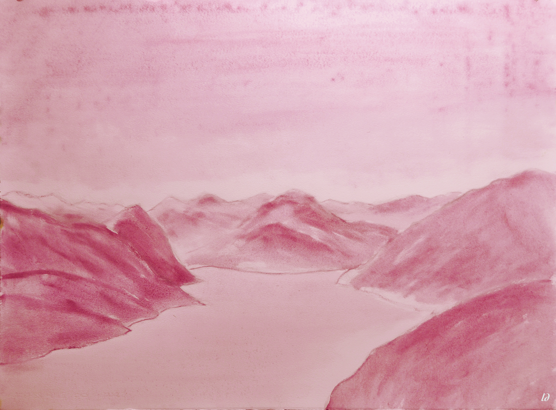 Lago di Lugano, 1. Huile sur papier, 56x76, 2020