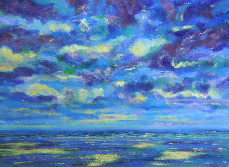 Orageux sur la mer. Huile sur papier, 56x76, 2020