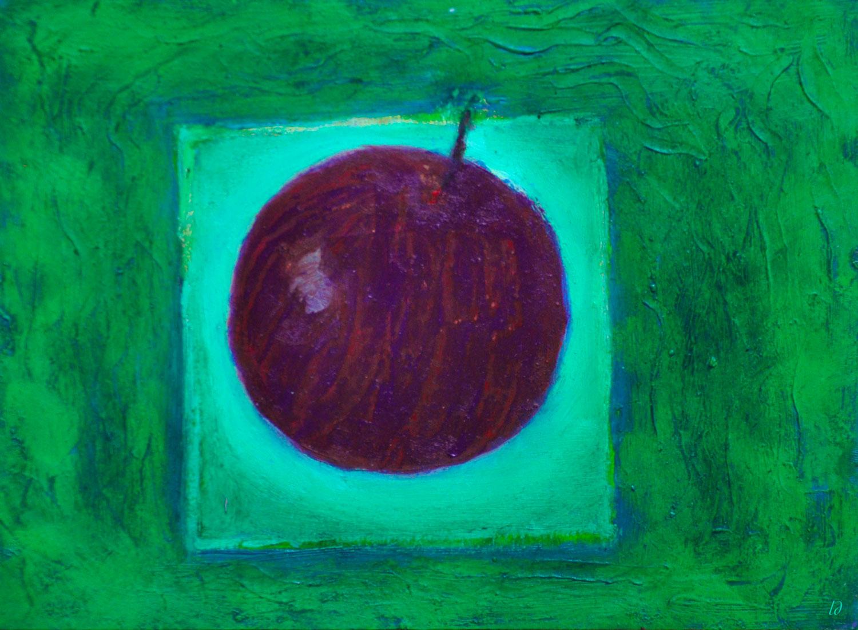 Pomme, 5. Cire et Huile sur papier, 15x20, 2020