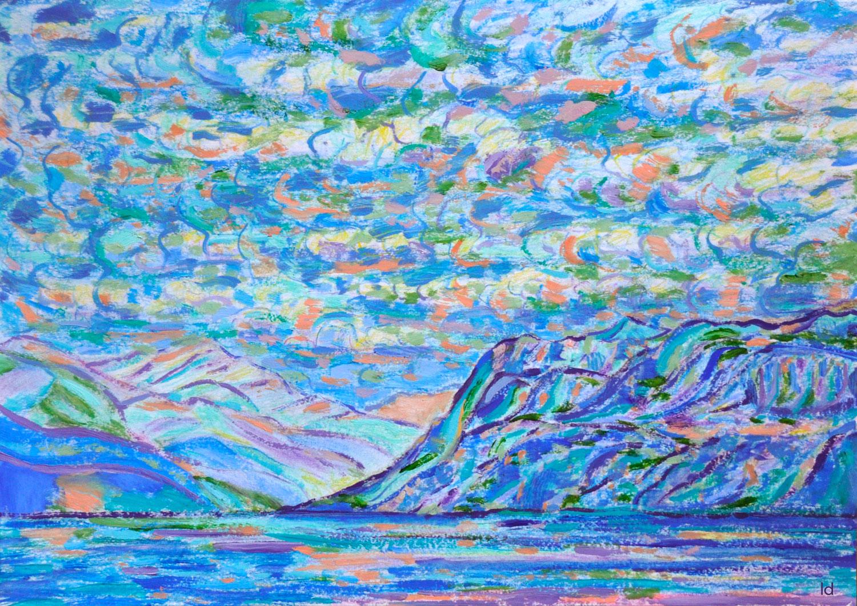 Lac Léman, St Prex, 19. Crayon et huile sur papier, 30x42, 2020
