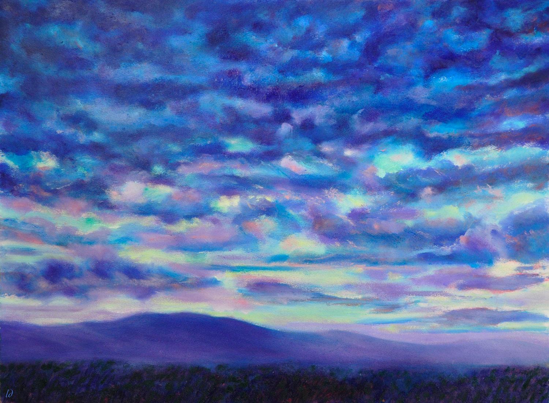 Orageux sur le Jura, 2. Huile sur papier. 56x76, 2020