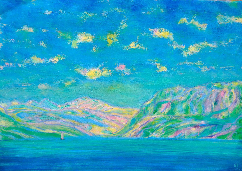 Lac Léman, St Prex, 20. Crayon et huile sur papier, 30x42, 2020