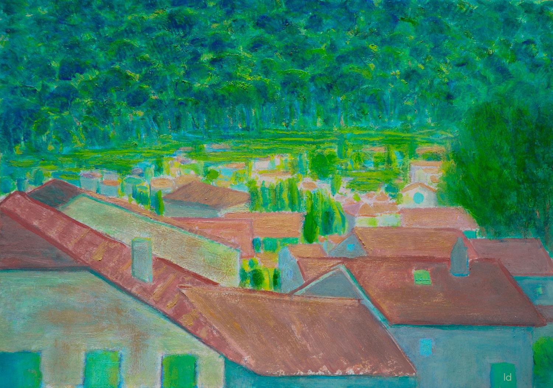 Les toits, Penthalaz, 18. Huile sur papier, 29x42, 2020