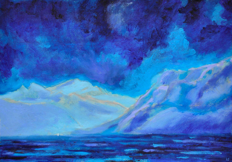 Lac Léman, St Prex, 21. Crayon et huile sur papier, 30x42, 2020