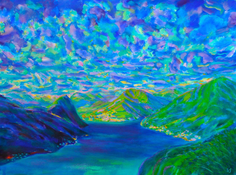 Lago di Lugano, 1. Acrylique et huile sur papier, 56x76, 2020