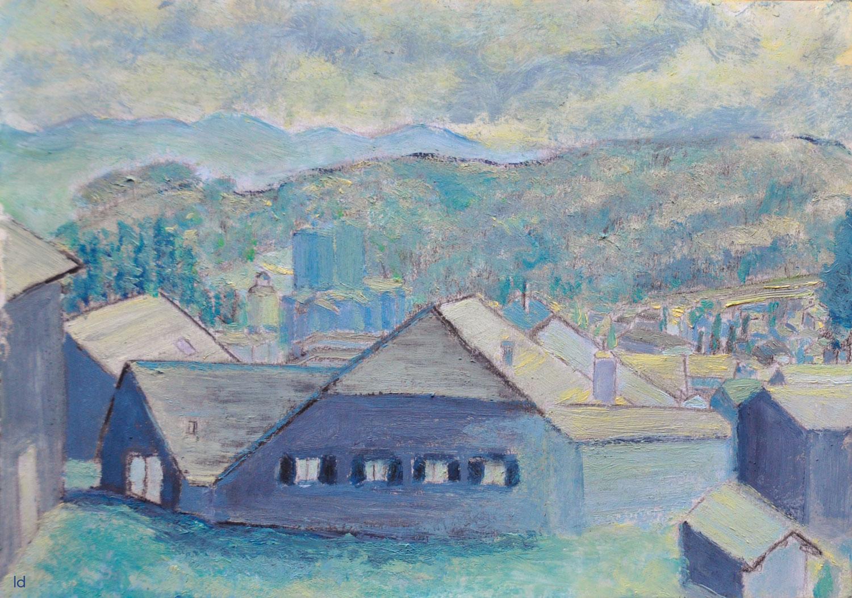 Les toits, Penthalaz, 17. Huile sur papier, 21x29, 2020