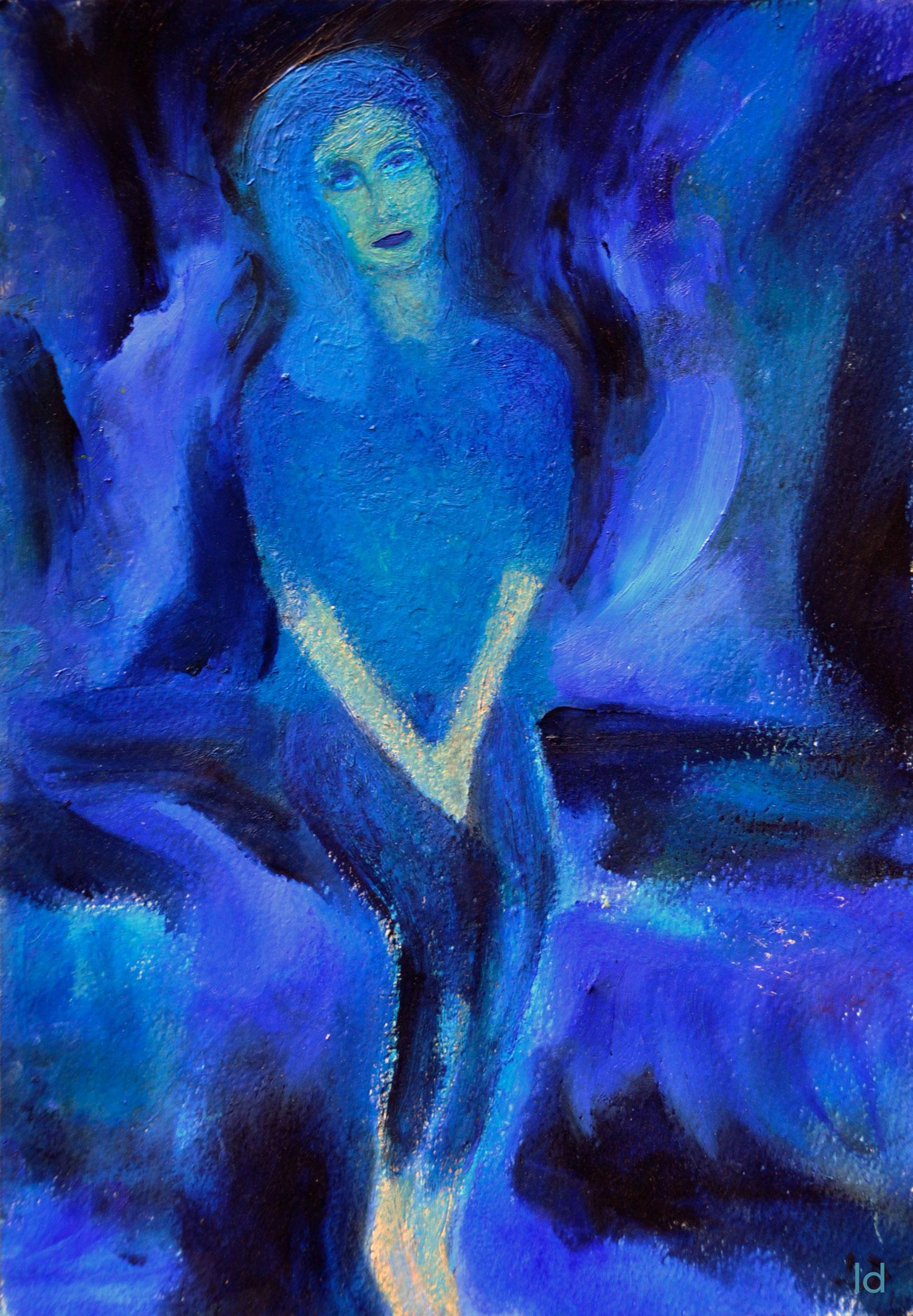 L'humeur bleue. Huile sur papier, 20x30, 2020