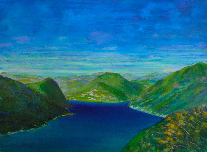 Lago di Lugano, 2. Huile sur papier, 56x76, 2020