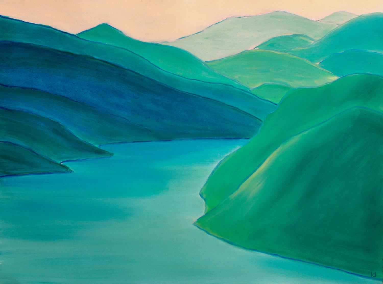 Lago di Lugano, 4. Huile sur papier, 56x76, 2020