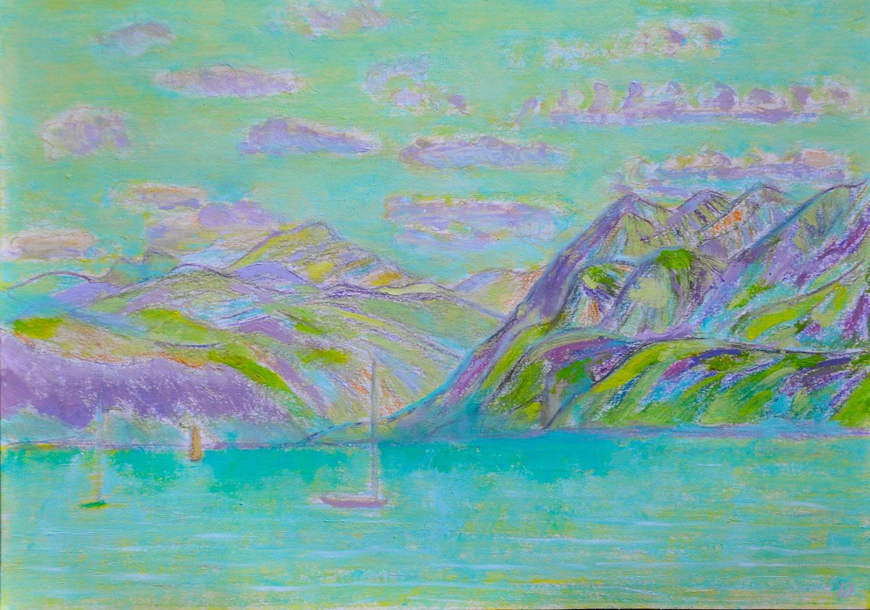 Lac Léman, St Prex, 16. Crayon et huile sur papier, 30x42, 2020