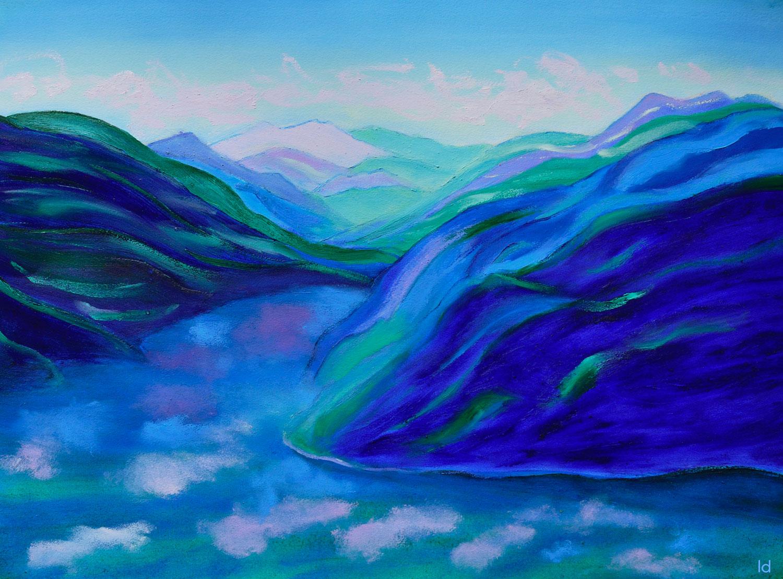 Lago di Lugano, 5. Huile sur papier, 56x76, 2021