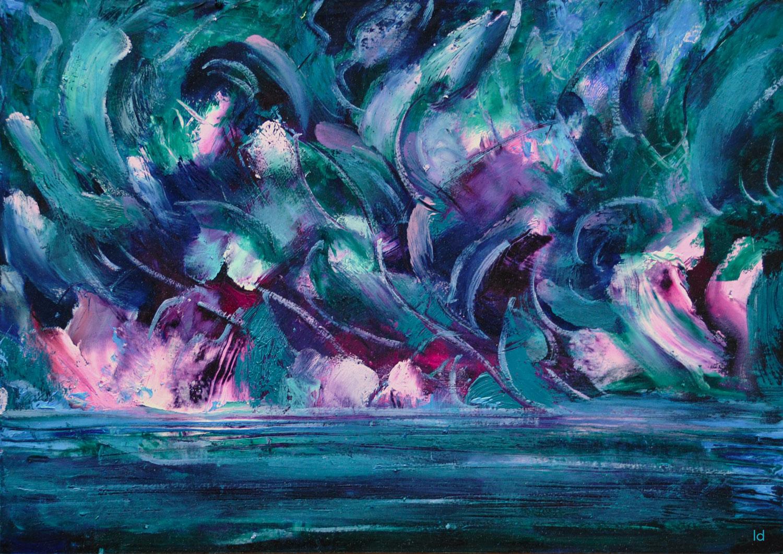 La vague, 2. Huile sur papier, 21x30, 2021