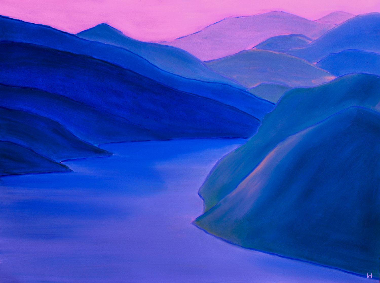 Lago di Lugano, 4.1. Version digitale tirée de la peinture 4.56x76, 2021