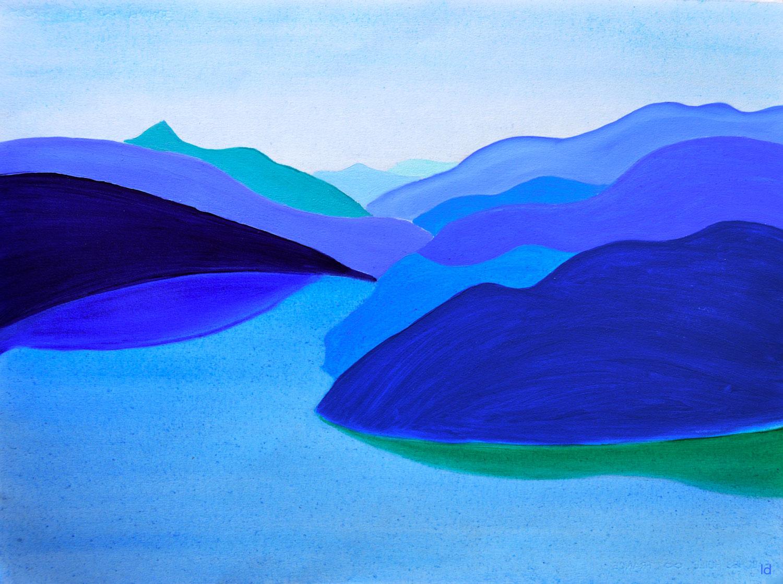 Lago di Lugano, 7. Huile sur papier, 56x76, 2021