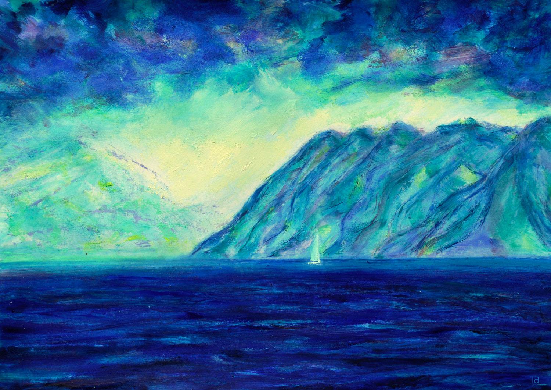 Lac Léman, St Prex, 22. Technique mixte sur papier, 30x42, 2021