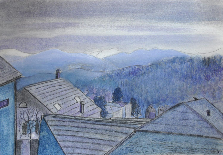 Les toits, Penthalaz, 20. Technique mixte sur papier, 30x42, 2021