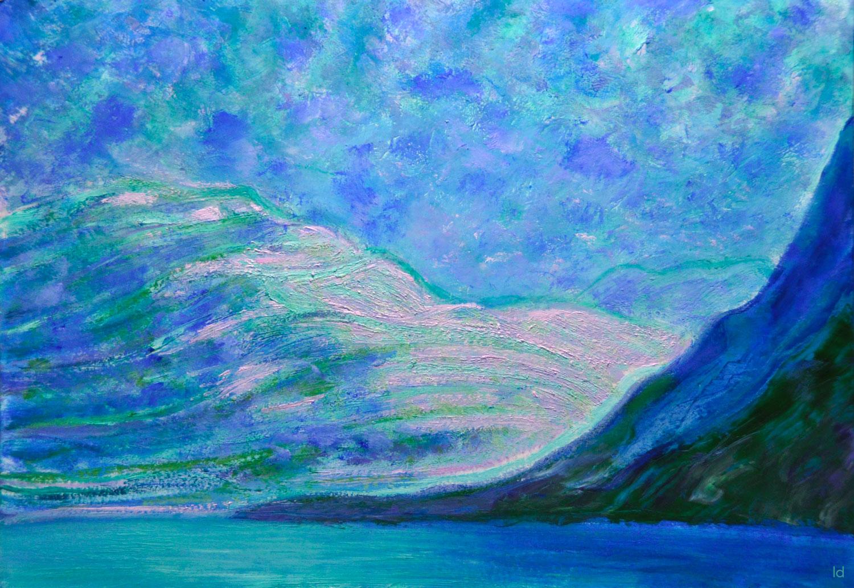 Lac Léman, St Prex, 23. Technique mixte sur papier. 30x42, 2021