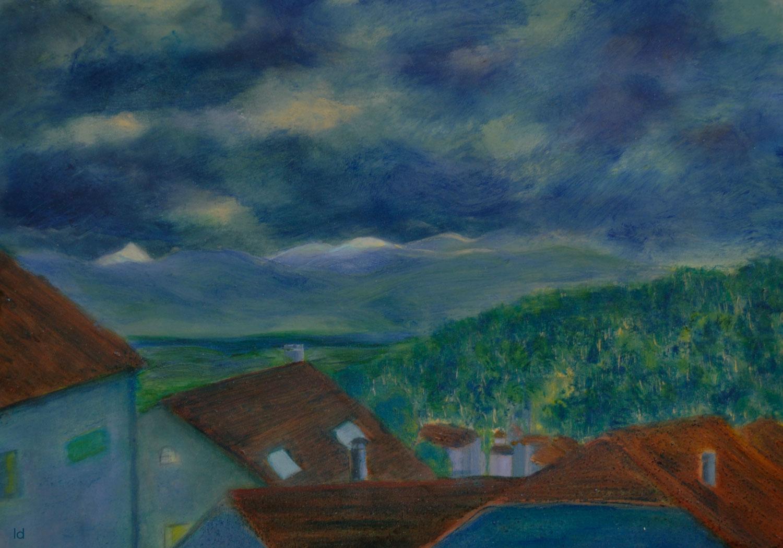 Les toits, Penthalaz, 21. Huile sur papier, 30x42, 2021
