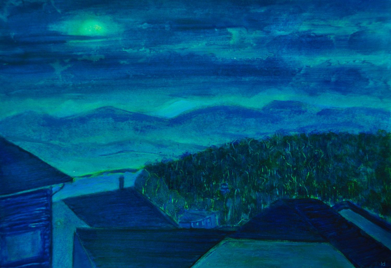 Les toits, Penthalaz, 22. Huile sur papier, 30x42, 2021