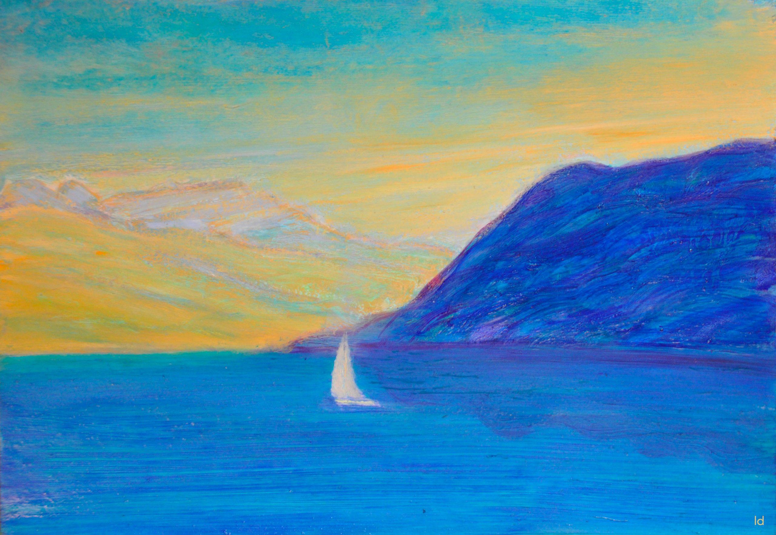 Lac Léman, St Prex, 12.2. Pastel à la cire et huile sur papier, 21x30, 2020