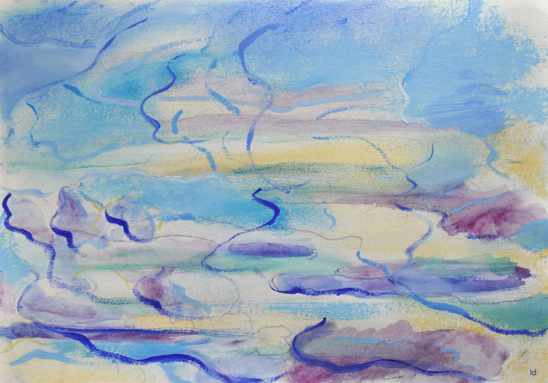 Etude de nuages, 1. Technique mixte sur papier, 21x29, 2021