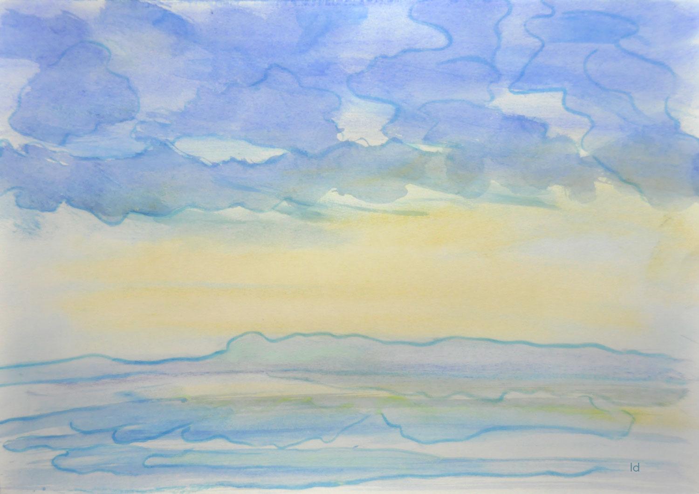 Etude de nuages, 4. Technique mixte sur papier, 30x42, 2021