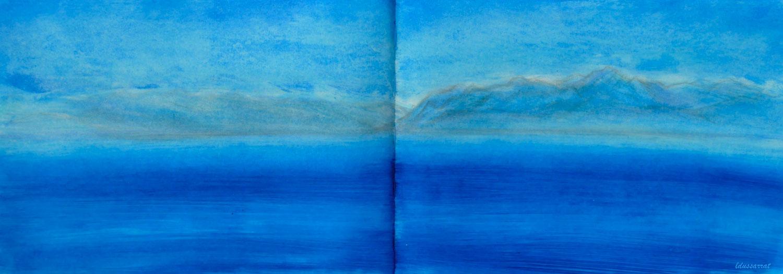 Lac Léman, St Prex, 27. Technique mixte sur papier, 21x59, 2021