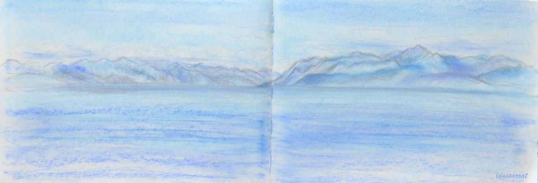 Lac Léman, St Prex, 27, esquisse. 21x59, Crayon et pastel sur papier, 2021