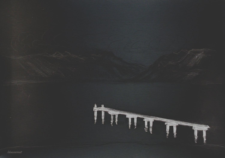 Le ponton, St Prex. crayon et retouche digitale, 65x92, 2021