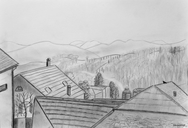 Les toits, Penthalaz. Crayon sur papier, 30x42, 2021