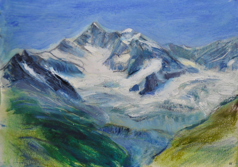 Gabelhorn gletscher. Technique mixte sur papier, 15x21, 2021